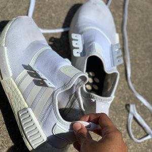 All white Adidas MND's
